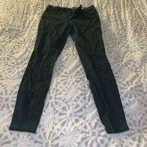 Deep green skinny jeans